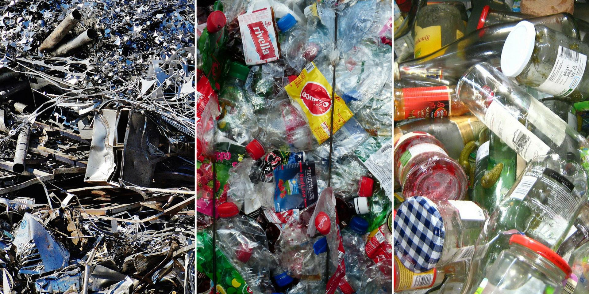 Kovy, plasty, sklo určené k recyklaci